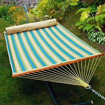 Blk Forest Stripe Quilted Hammock w/ Pillow