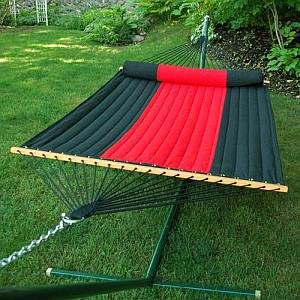 Red and Black Quilted Hammock with Bolster Pillow