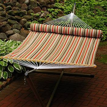 13 Foot Pumpkin Stripe/Tan Reversible Hammock