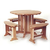 Picnic Table Cedar Wood - Round Unassembled