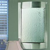 Contempo Falls Luna Wall Fountain / Silver Mirror with Brushed Stainless Steel Frame