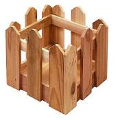 Small Cedar Picket Fence Planter
