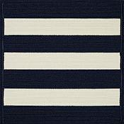 Cabana Stripes Navy and White Outdoor Rug - 27in x 48in