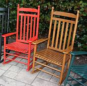 Pair of Country Style Slat Back Rocking Chairs