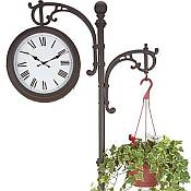 Freestanding Two Sided Outdoor Clock with Plant Hanger