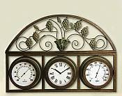 Grapevine Design Temperature Gauge with Clock