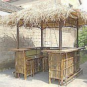 Tahiti Natural Bamboo Tiki Style Bar Hut with Sink - 8ft x 8ft