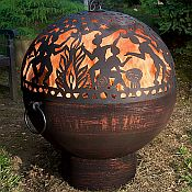 Copper Finish Firebowl with Full Moon Party Fire Dome