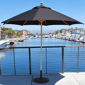 9 Ft Commercial Wood Market Umbrella