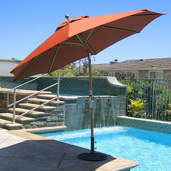 9 ft Classic Teak Market Umbrella with Tilt
