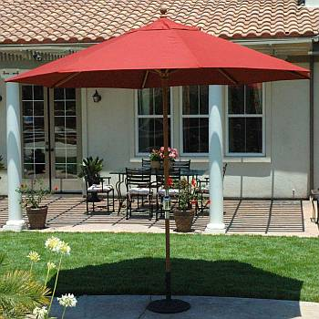 11ft Maximum Shade Teak Market Umbrella