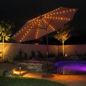 11 ft Auto Tilt - LED Lights Market Umbrella