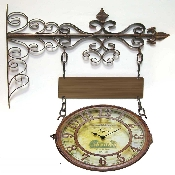 Two Sided Rue De Chateau Metal Outdoor Clock
