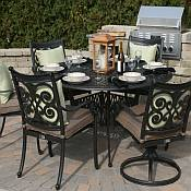 Herve 6 Person Round Aluminum Dining Set