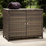 All Weather Wicker Storage Cabinet