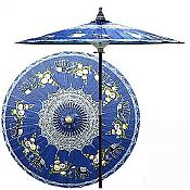 7ft Oriental Umbrella- Asian Elephants -Blue