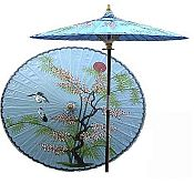 7ft Oriental Umbrella- Asian Splendor - Blue