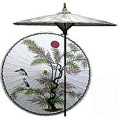 7ft Oriental Umbrella- Asian Splendor - White