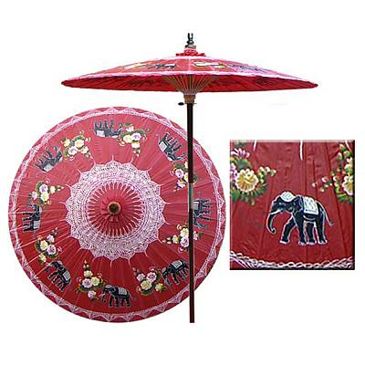 7ft Oriental Umbrella- Parading Elephants