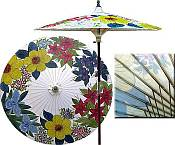7ft Oriental Umbrella- Wildflowers- Lily White