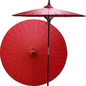 7ft Oriental Umbrella- Solid Red