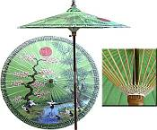 7ft Oriental Umbrella- Chinese Spring Green