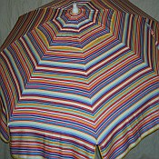 Patio & Beach Umbrella - Blue & Red Multi Stripe