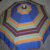Patio & Beach Umbrella - Blue & Orange Stripe