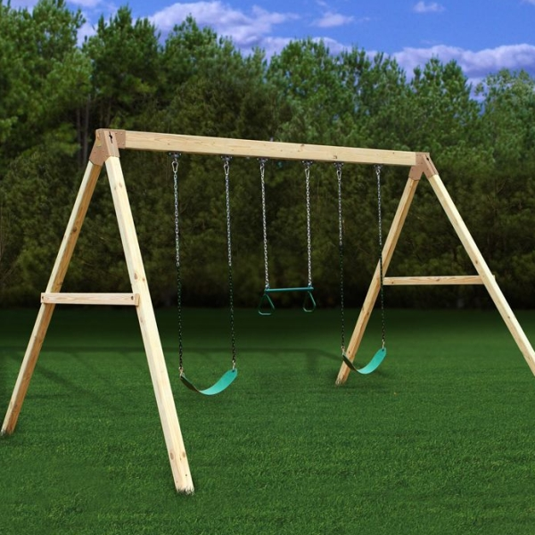 Settler A-Frame Wooden Swing Set Kit - 3 Swings