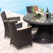 Helena 60 Inch Wicker Table with 6 Wicker Chairs