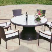 Helena 60 Inch Wicker Table with Stackable Chairs