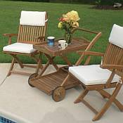 Two Sailor Chairs with Arms and Tray Cart