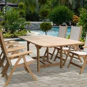 Rectangle Teak Expansion Table 72 to 96 inches and 6 Florida Reclining Chairs