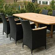 Rectangle Teak Expansion Table 96 to 120 inches and 6 Helena Chairs