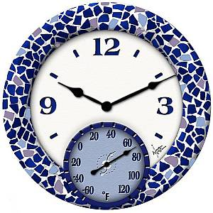 14 Inch Mosaic Sea Clock / Thermometer