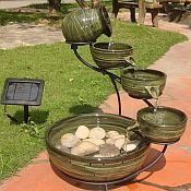 Solar Green Bamboo Fountain