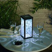 Frosted Scroll Solar<br>Lantern