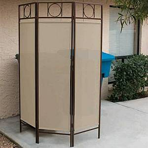 Contemporary Privacy Screen - Bronze Frame/Pacific Blue Fabric