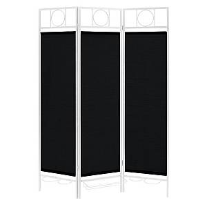 Contemporary Sunburst Patio Privacy Screen, White Frame - Black Fabric