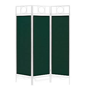 Contemporary Sunburst Patio Privacy Screen, White Frame - Green Fabric