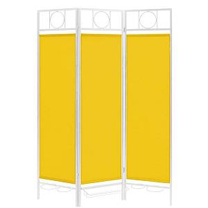 Contemporary Sunburst Patio Privacy Screen, White Frame - Yellow Fabric