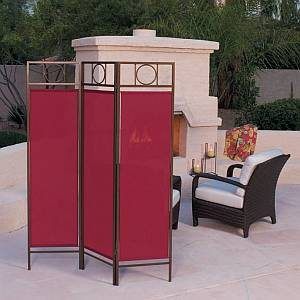 Contemporary Privacy Screen - Bronze Frame/Burgundy Fabric