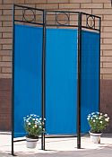 Contemporary Privacy Screen - Black Frame/Pacific Blue Fabric