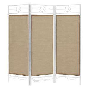 Sunsational Sunburst Patio Privacy Screen, White Frame - Beige Fabric