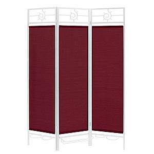 Sunsational Sunburst Patio Privacy Screen, White Frame - Burgundy Fabric