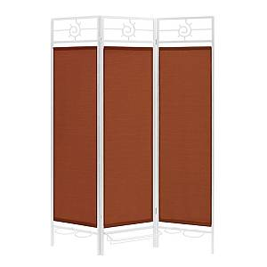 Sunsational Sunburst Patio Privacy Screen, White Frame - Terracotta Fabric