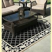 Outdoor Rugs made with DuraCord - Trellis Neutral