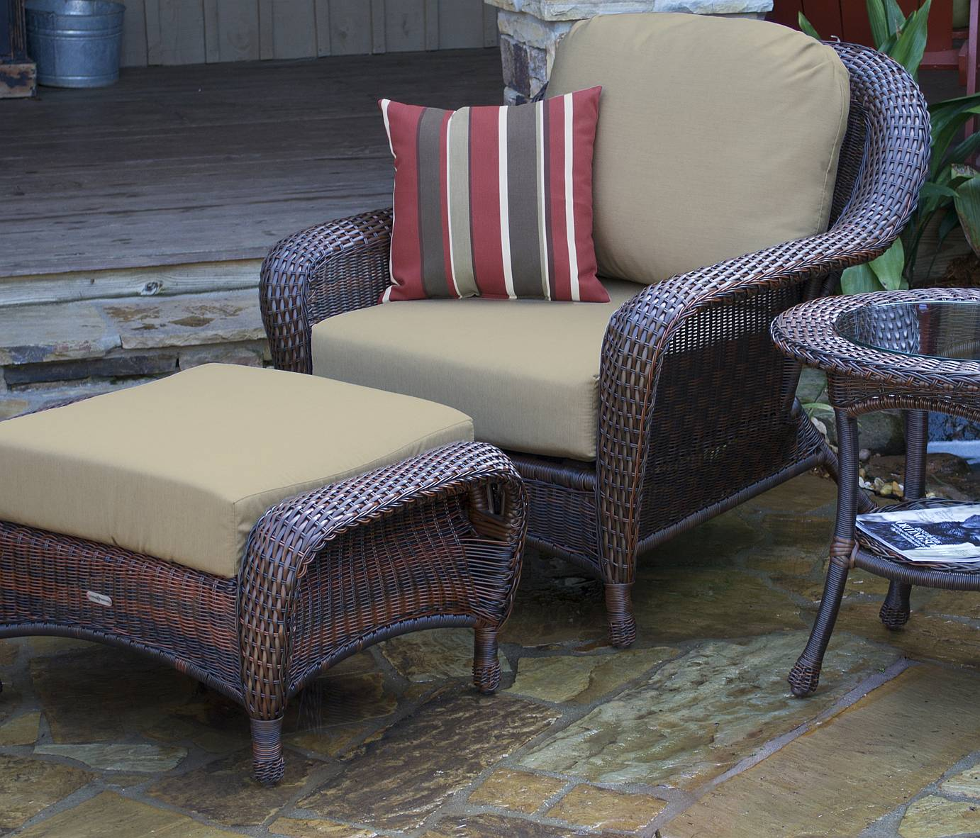 Tortuga Lexington Club Chair, Ottoman, & End Table