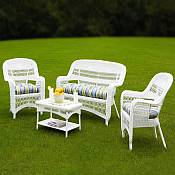 Tortuga Portside White Wicker Conversation Set