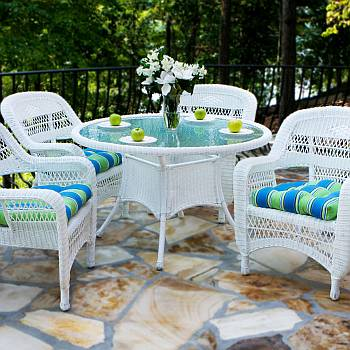 Tortuga Portside Coastal White Wicker Dining Set